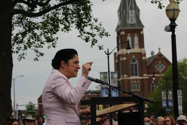 Comptroller Susana Mendoza addresses a women's march earlier this year in Springfield.