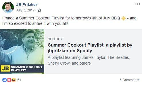JB Pritzker's Summer Cookout Spotify playlist