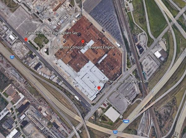 Google Map screenshot of the Ford plant in Cleveland.
