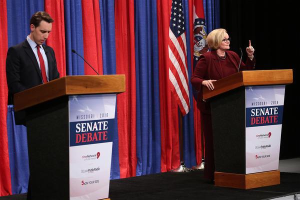 Missouri Attorney General Josh Hawley and U.S. Senator Claire McCaskill debated Thursday in St. Louis.