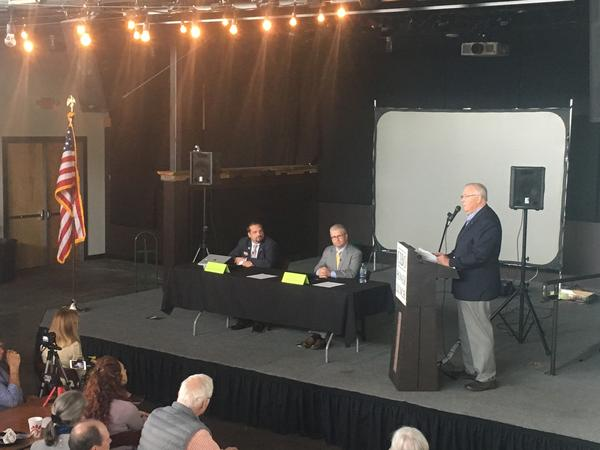David Wilson Brown (left) and Patrick McHenry (middle) hold their lone debate Tuesday Oct. 23rd at Highland Brewing in Asheville