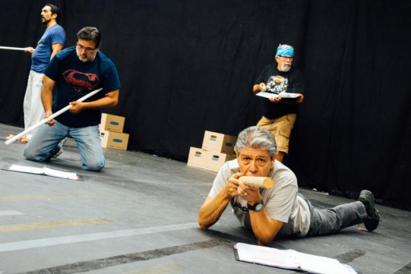 """Tomás Sandoval, Sr. (bottom right) served in Vietnam. He stars in the play, """"Ring of Red: A Barrio Story,"""" which was written by his son, Tomás Summers Sandoval."""