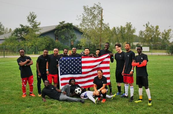 """The New Americas"" team is sponsored by Saint John's, an English language school in Dayton, and has players from seven different nations. Players say they choose to play under the American flag because they feel like this country is their home."