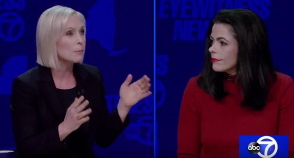 A screencap of Thursday's Gillibrand-Farley debate.