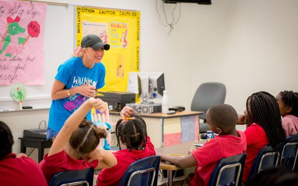 Lauren Book, a former kindergarten teacher who now represents much of Broward County in the state Legislature, presents a lesson from her Safer Smarter Schools curriculum at Olinda Elementary School in Miami.