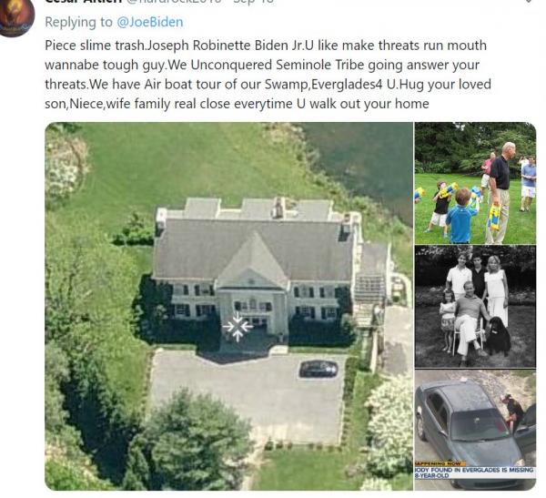 A tweet from the account law enforcement officials say belongs to Cesar Sayoc, apparently threatening former Vice President Joe Biden.