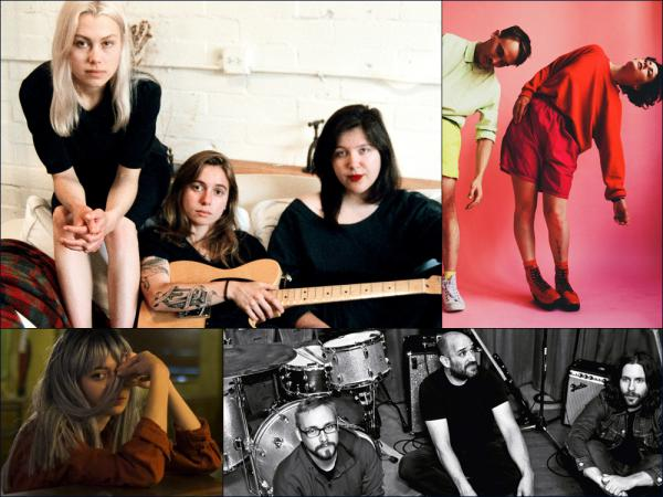 Clockwise from upper left: Phoebe Bridgers, Julien Baker and Lucy Dacus as boygenius, Rubblebucket, Pedro The Lion and PAVVLA