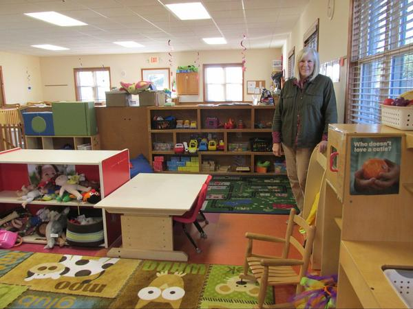 Jan Cain inside Care-o-sel, her preschool center in Virden, Illinois.