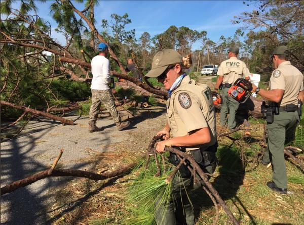 Volunteers help clear debris after Hurricane Michael.