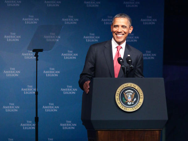 President Obama addresses the 93rd American Legion National Convention at the Minneapolis Convention Center on Tuesday.