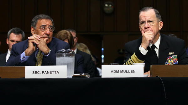 Defense Secretary Leon Panetta (left) and Adm. Michael Mullen, chairman of the Joint Chiefs of Staff, testify before the Senate Armed Services Committee on Thursday. Mullen said the U.S. had evidence that Pakistan's intelligence agency supported a group involved in the attack on the U.S. Embassy in Afghanistan last week.