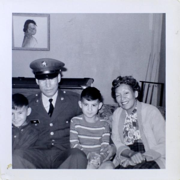 <p>Dwayne Stenstrom, in the striped shirt, is shown in a family photo as a young boy. He is pictured with one of his brothers who went to Vietnam and another brother who was also placed in foster care.</p>