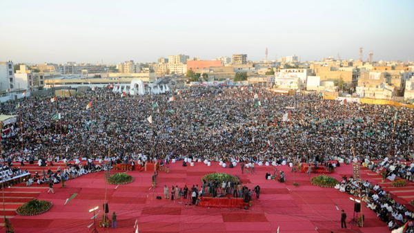 <p>The population of Karachi, Pakistan, has been boosted by a new influx of young people. And now the city, seen here during a   political rally in January, is making a bid to attract global elites.</p>