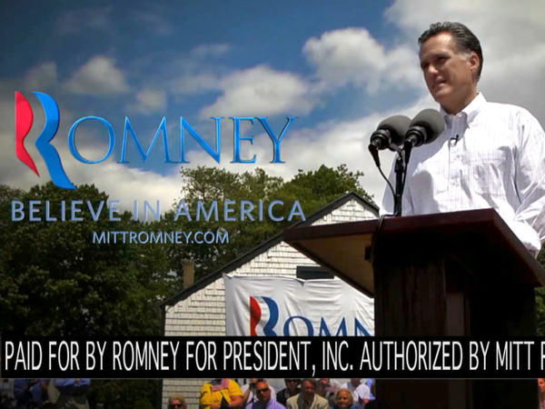 "This video frame grab provided by the Mitt Romney presidential campaign shows a scene from an ad called ""Believe in America"" that is running in New Hampshire."