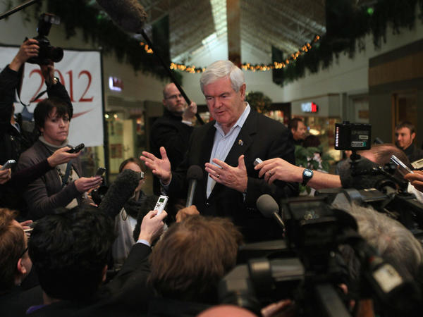Republican presidential candidate Newt Gingrich speaks to reporters during a campaign stop on Dec. 28 in Mason City, Iowa.