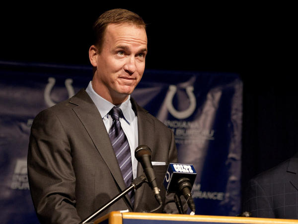 Peyton Manning during the news conference Wednesday in Indianapolis when it was announced that he's leaving the NFL's Colts.