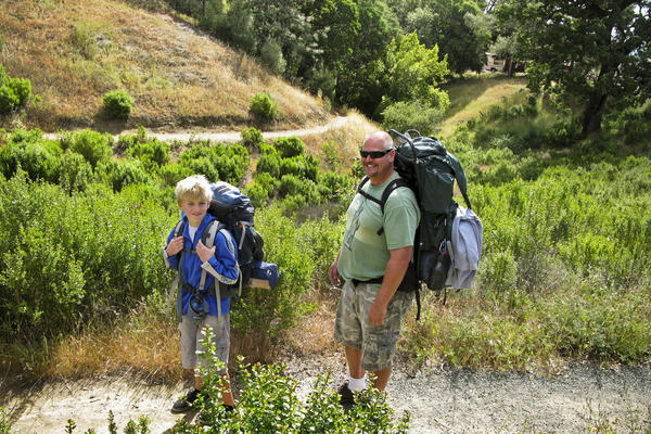 Brad Beadell (right) takes his 11-year-old son, William, on his first backpacking trip through Henry W. Coe State Park in Morgan Hill, Calif.