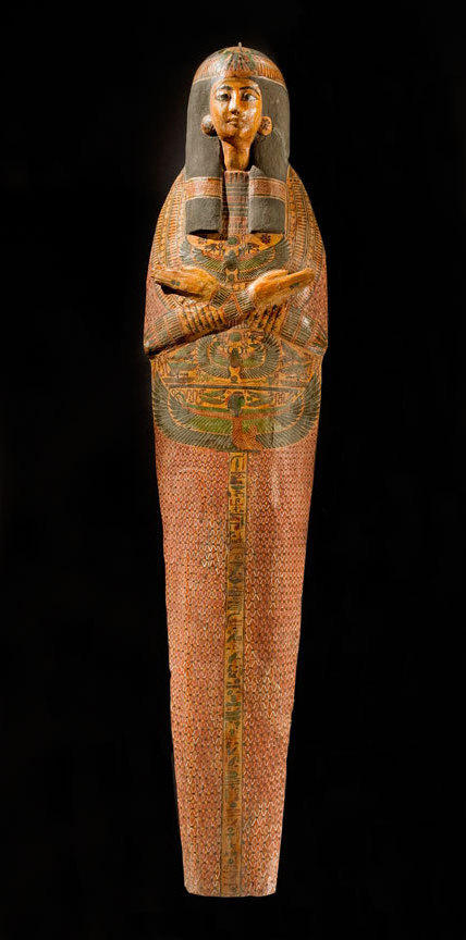 This delicately painted Egyptian mummy case was created around 3,000 years ago for a singer in the temple of the sun god Amun-Re.
