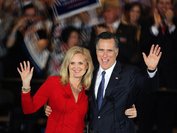 Republican presidential candidate Mitt Romney and his wife, Ann, greet supporters during an Illinois primary victory party in March.