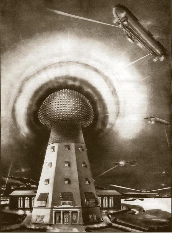 Wardenclyffe, Tesla's lab on Long Island, was supposed to be his crowning achievement. Behind it, he wanted to build a 187-foot tower he could use to transmit messages and pictures wirelessly. Frank R. Paul drew this illustration of the tower, which was never completed.