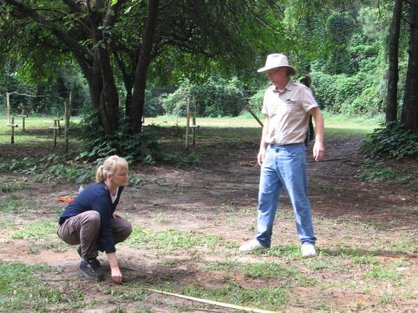 In their search for graves, Estabrook and forensic anthropologist Erin Kimmerle lay out a grid at the school cemetery.