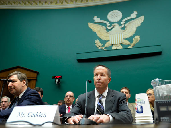 New England Compounding Center co-owner Barry Cadden went to Capitol Hill for a congressional hearing Wednesday on the fungal meningitis outbreak. Choosing to take the Fifth Amendment, Cadden did not testify.