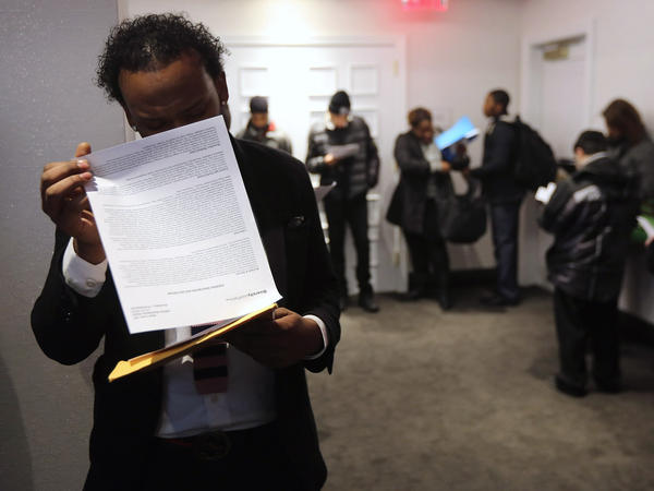 """Looking for work: The scene at a """"diversity job fair"""" in Manhattan last month."""