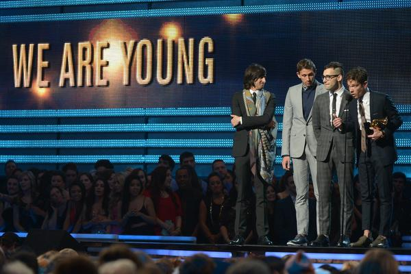 """The band fun. wins a Grammy for song of the year with """"We Are Young."""" It also grab Best New Artist Sunday."""