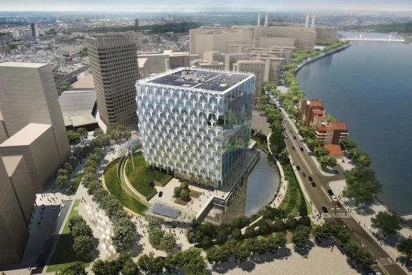 A rendering of the new U.S. Embassy in London that is expected to open in 2017. Susan Johnson describes it as a fortress that has been softened and feels more open.