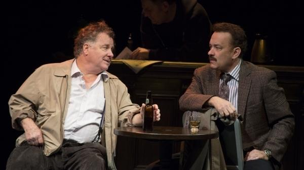 Nora Ephron's final play, <em>Lucky Guy, </em>tells the story of controversial New York columnist Mike McAlary, played by Tom Hanks. (Also pictured: Peter Gerety as John Cotter).<em> </em>