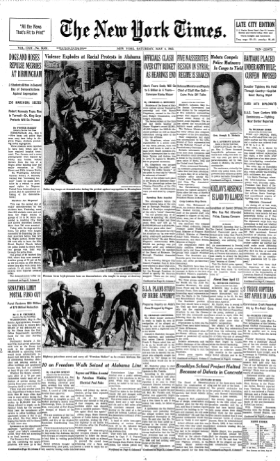 The <em>New York Times'</em> front page on May 4, 1963.