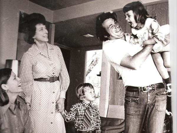 Cokie Roberts (far left) and Steve Roberts with Cokie's mother, Lindy Boggs, and children Lee and Rebecca in 1969.