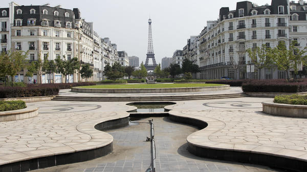 Dry fountains along Sky City's main thoroughfare, called the Champs-Elysses.