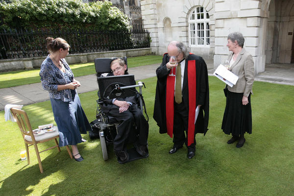 Hawking attends the 2008 honorary degree procession at Cambridge University on June 23, 2008. The University's Regent House approved the award of honorary doctorates to seven eminent people from the worlds of religion, law, physics, industry, medicine, theater and music.