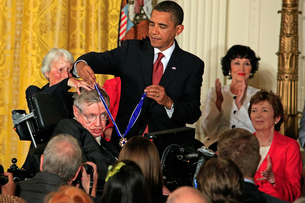 President Barack Obama presents the Medal of Freedom to Hawking during a ceremony in the East Room of the White House on Aug. 12, 2009, in Washington, D.C.