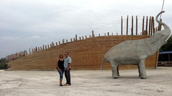 Carolina and Reniel Peralta of the Hidden Ark in March, before the county government made them tear down the ark. The ark was deconstructed in June, but the concrete elephant still stands.