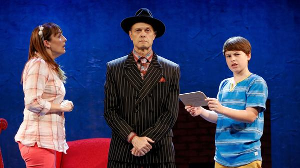 David Hyde Pierce (center), Julia Murney and Frankie Seratch star in <em>The Landing,</em> a new musical from Broadway veteran John Kander, who co-wrote it with Greg Pierce. David Hyde Pierce previously starred in one of the latter collaborations between Kander and his late songwriting partner, Fred Ebb — the 2006 musical <em>Curtains</em>.