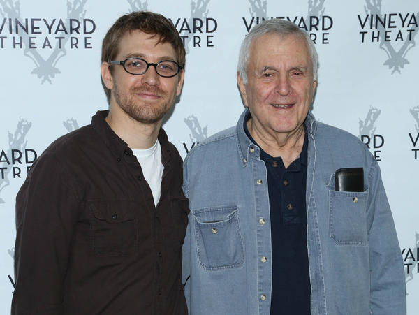 Greg Pierce and John Kander, on the carpet at a cast photo session for <em>The Landing</em> in September, are 51 years apart in age, but the two report working smoothly together.