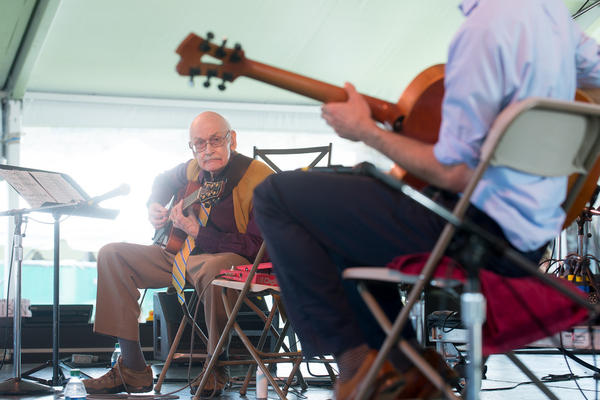 Jim Hall performs with his trio and fellow guitarist Julian Lage at the 2013 Newport Jazz Festival.