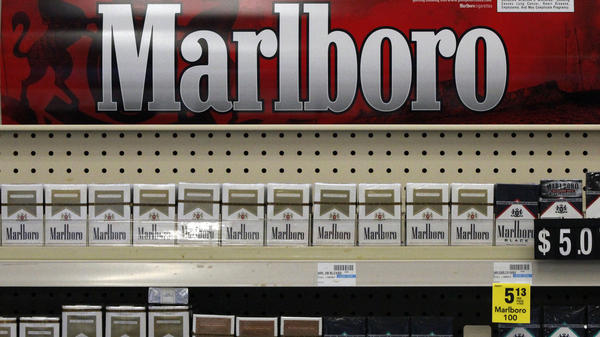 Soon to be gone: Marlboro cigarettes on display at a CVS store in Pittsburgh last July.