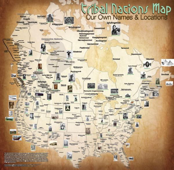 """Carapella has designed maps of Canada and the continental U.S. showing the original locations and names of Native American tribes. <a href=""""http://www.npr.org/assets/news/2014/06/Tribal_Nations_Map_NA.pdf"""" target=""""_blank"""">View the full map (PDF).</a>"""