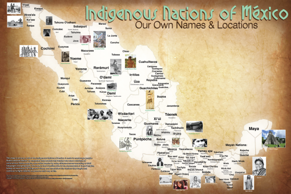 """This map of Mexico features both the original and commonly known names of some indigenous nations. <a href=""""http://www.npr.org/assets/news/2014/06/Tribal_Map_Mexico.pdf"""" target=""""_blank"""">View the full map (PDF).</a>"""