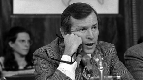 Howard Baker, then a Republican senator from Tennessee and vice chairman of the Senate Watergate investigating committee, questions witness James McCord during a hearing on May 18, 1973.