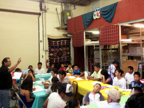 A former loading dock has been converted into a makeshift classroom at the Guatemalan-Maya Center.