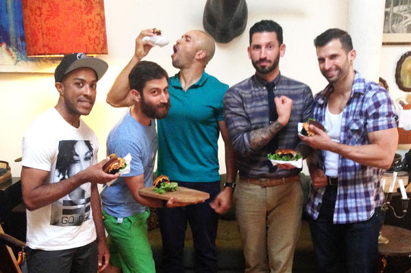 Mixed martial arts fighter Cornell Ward (from left), chef Daniel Strong, triathlete Dominic Thompson, lifestyle blogger Joshua Katcher and competitive bodybuilder Giacomo Marchese at a vegan barbecue in Brooklyn, N.Y.
