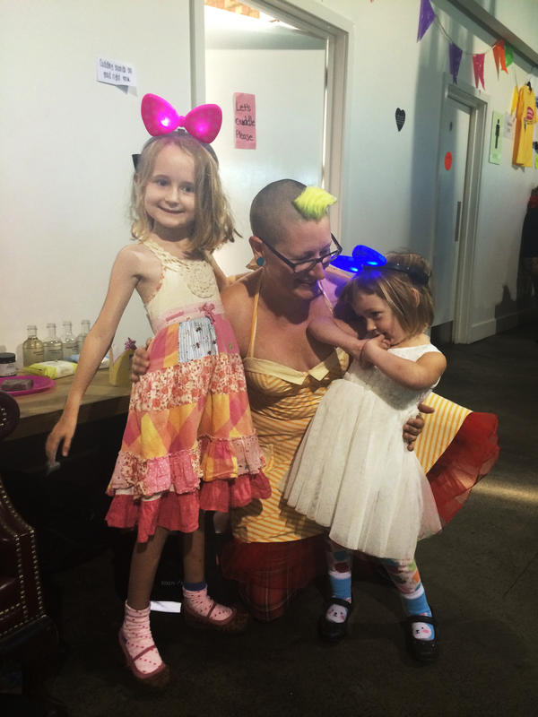 """Jamie Wilmore with her 6- and 3-year-old girls, who are regulars at Morning Gloryville. This was their seventh rave. """"Being a parent is awesome, and I think I would come to this anyway,"""" she says. """"But it's more fun with the kids."""""""