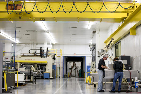 The Exelis factory has more than 16,000 square feet, but only 80 people work here.