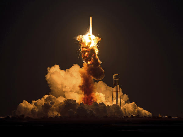 The Orbital Sciences Corporation Antares rocket suffers a catastrophic anomaly moments after launch at NASA's Wallops Flight Facility in Virginia on Tuesday.