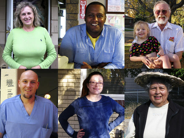 Colorado voters, clockwise from top left, Ili Bennett, Samy Wahabrebi, Vern Baumer, Lucy Montoya,Taylor Dybdahl and Antonio Covello.