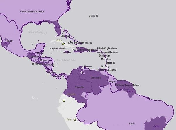 The Western Hemisphere recorded more than a million cases of chikungunya in 2014. The virus became endemic (dark purple) in the Caribbean, Florida and parts of Central and South America.